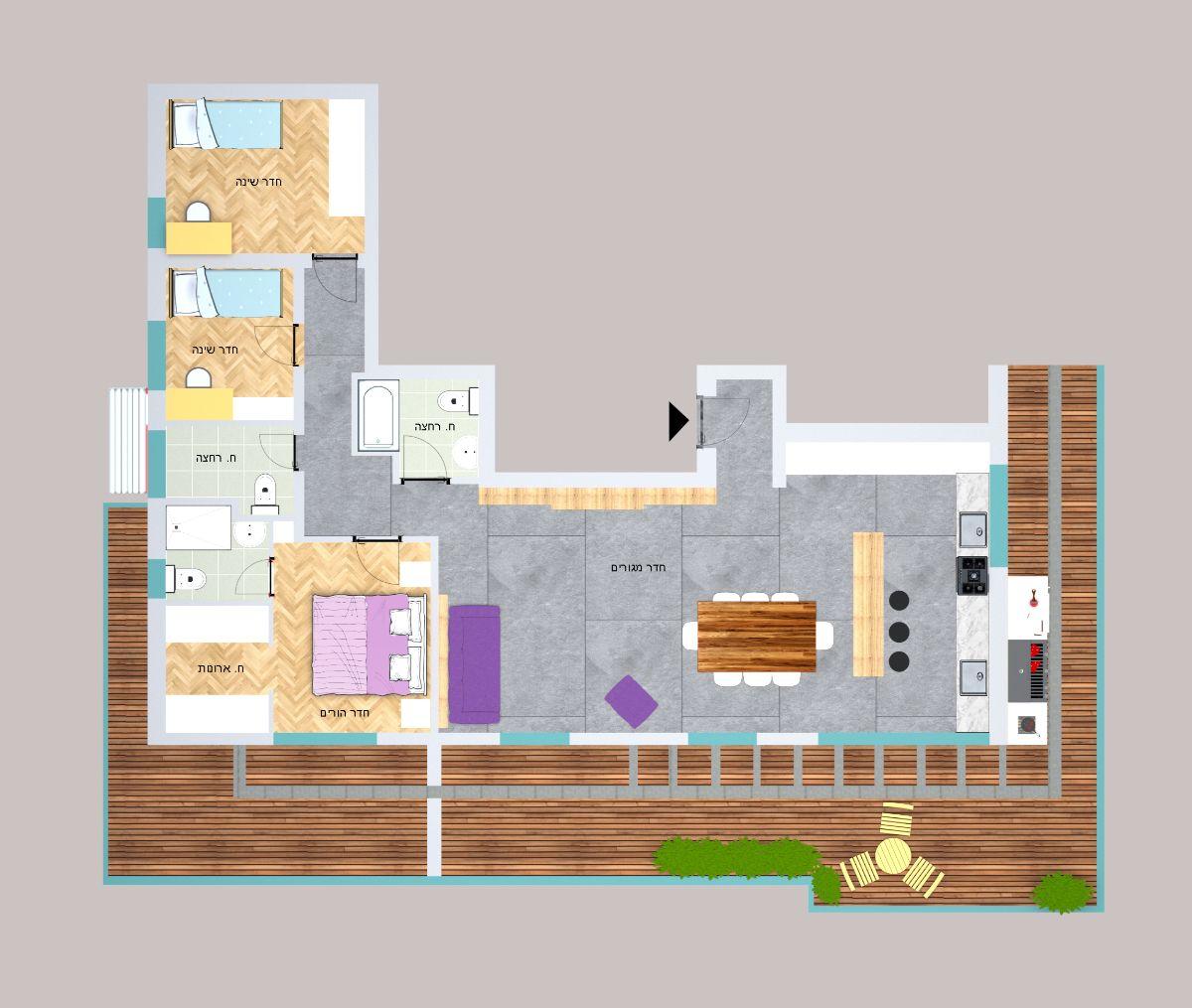 עיצוב פנים הדמייה   אדריכלות תכנון - תכנון הבית